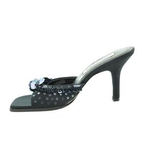 SAM & LIBBY 'MIRA' BLACK SEQUINED SATIN SANDAL 7.5